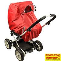 Универсальный дождевик-ветрозащита на коляску-люльку Kinder Comfort, красный