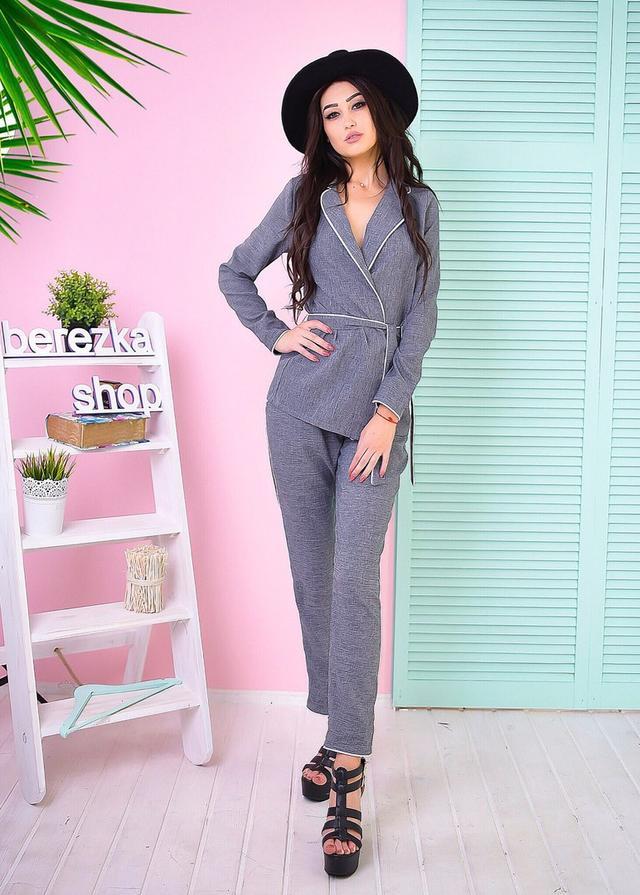 Костюм женский в пижамном стиле пиджак и брюки лен-костюмка 2 цвета ... cdfd76b52e39a