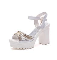 Босоножки женские белые на каблуке Б875 р 40