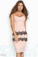 Кружевное коктейльное платье. Цвет черно-розовый.