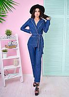 Костюм женский джинсовый в пижамном стиле пиджак и брюки 6Db591