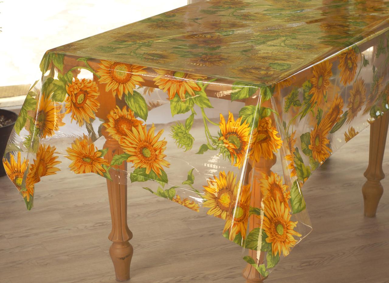 Клеёнка-скатерть полупрозрачная силиконовая на кухонный стол с подсолнухами