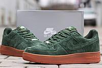 Мужские кроссовки Nike Air Force замшевые,зеленые