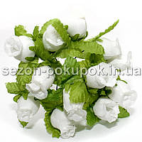 "Цветок ""Бутон розы"" (цена за букет из 12 шт). Цвет - белый"
