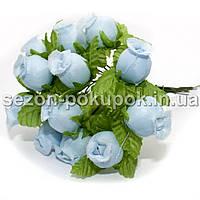 """Цветок """"Бутон розы"""" (цена за букет из 12 шт). Цвет - голубой"""