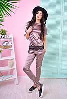 Костюм женский модный футболка с кружевом и брюки атлас 6Db594