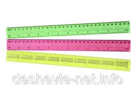Линейка пластиковая цветная, 30 см, ширина 3см
