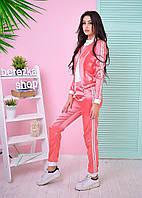 Костюм модный женский повседневный из атласа кофта на молнии и брюки разные цвета 6Db595