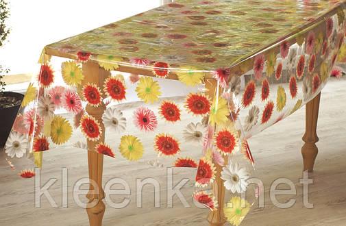 Клеёнка-скатерть полупрозрачная силиконовая на кухонный стол с герберами, фото 2