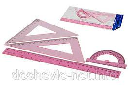 Набор линеек пластиковых 30 см, прозрачный/ розовый. 4 предмета.
