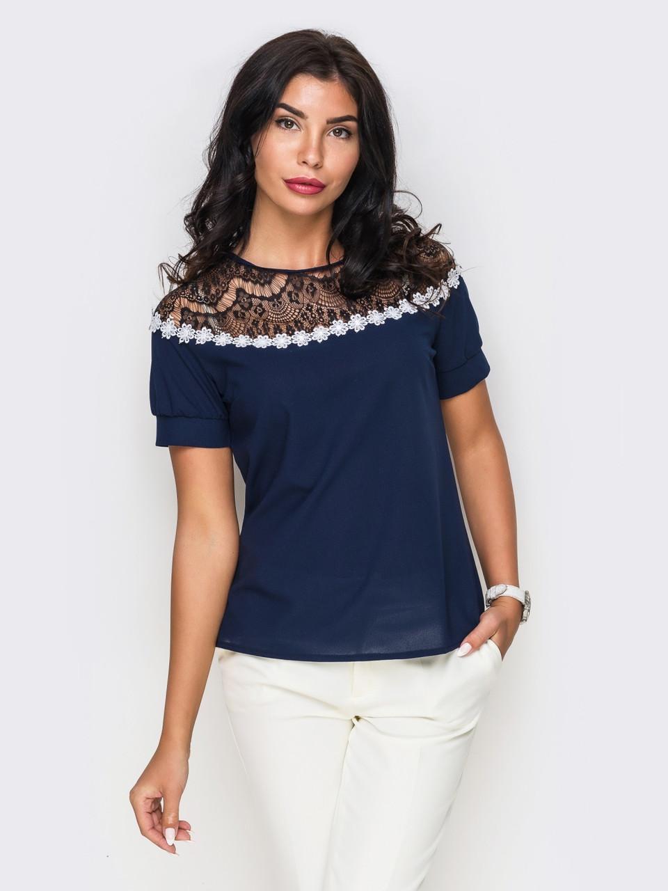 (M / 46) Жіноча вечірня синя блузка Isida