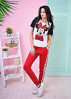 Костюм женский повседневный футболка и брюки дайвинг модные принты 6Db596
