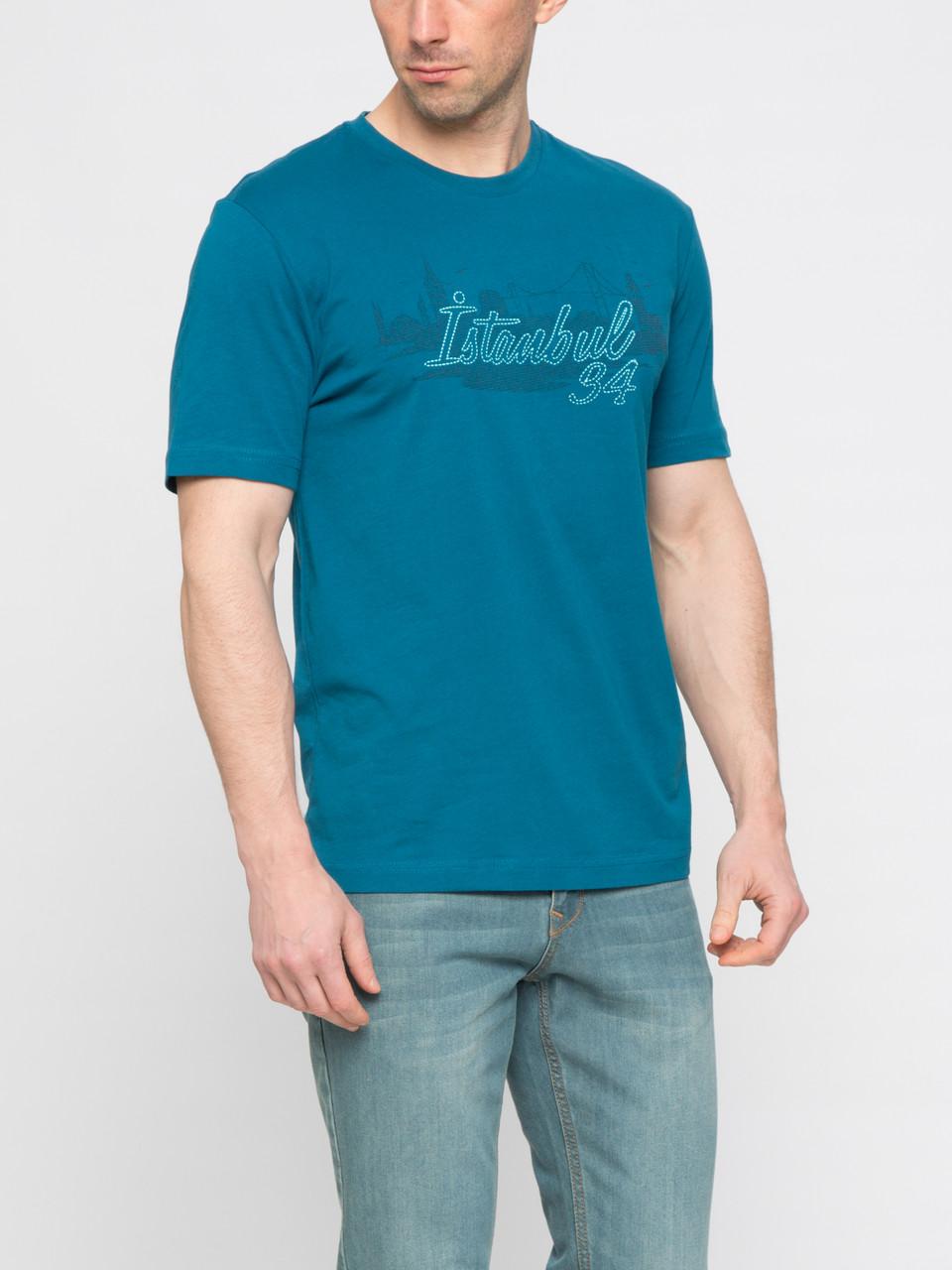 Мужская футболка LC Waikiki изумрудного цвета с надписью на груди Istanbul 94