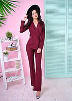 Костюм женский модный пиджак с поясом и брюки клеш костюмка разные цвета 6Db597