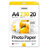 Фотобумага Videx глянцевая матовая двухсторонняя А4 230г/п, 20л
