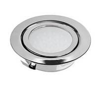 Светильник LED врезной круглый мебельный KOLOS алюминий, холодный белый