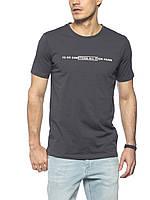 Мужская футболка LC Waikiki темно-серого цвета с надписью на груди