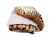 Одеяло-плед полуторное холлофайбер, ткань микрофибра, велюр иск.