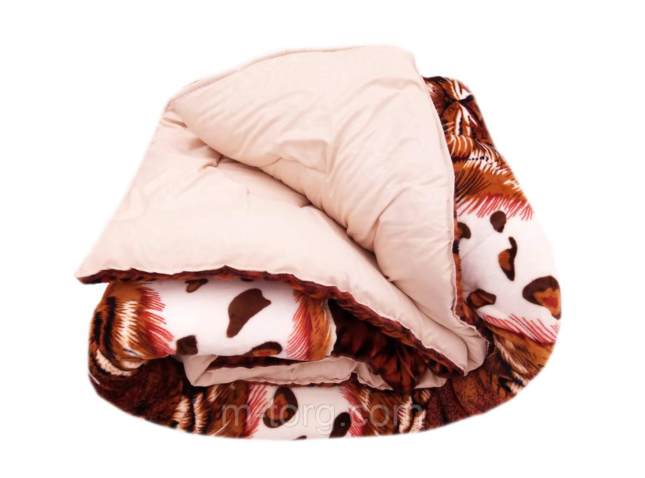 Одеяло-плед двуспальное 175/210 холлофайбер, ткань микрофибра, велюр иск.