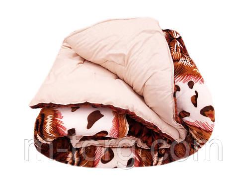 Одеяло-плед двуспальное 175/210 холлофайбер, ткань микрофибра, велюр иск. , фото 2
