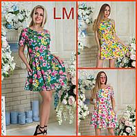 42-48 размеры, Летнее женское платье Женя большого размера с цветами зеленое розовое синее красивое сарафан