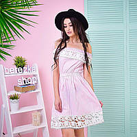 """Платье модное с открытыми плечами и кружевом мини хлопок """"Крестьянка"""" 2 цвета SMs1676"""