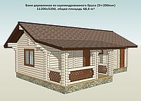 Баня деревянная из оцилиндрованного бруса по индивидуальному проекту