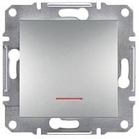 Выключатель 1-кл. проходной с подсветкой алюминий