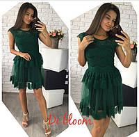 Темно-зеленое нарядное платье з сеткой