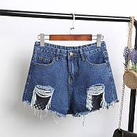 Джинсовые шорты с высокой талией и сеткой синие, фото 1
