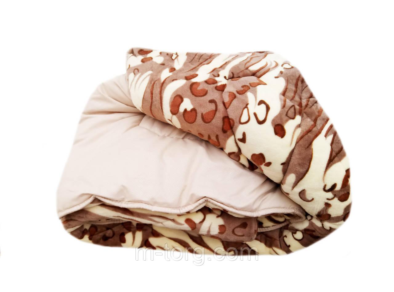 Плед-одеяло двуспальное 180/210 холлофайбер, ткань микрофибра, иск. велюр