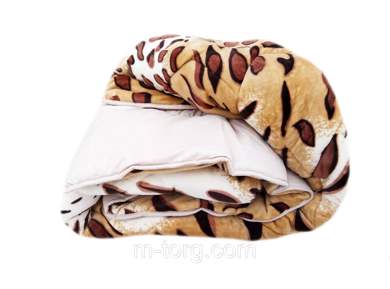 Плед-одеяло двуспальное 180/210 холлофайбер, ткань микрофибра, велюр иск.