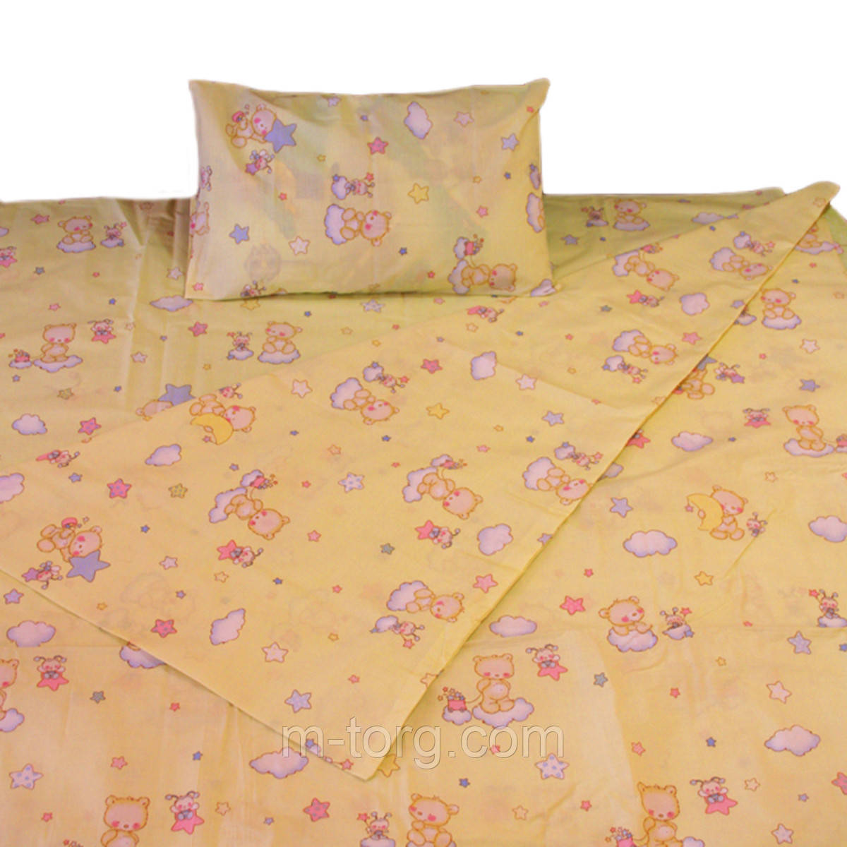 Комплект детского постельного белья 110/150, нав-ки 40/60, ткань поплин, 100% состоит из хлопка