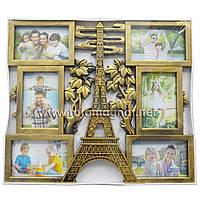 """Мультирамка  """"Париж"""" на 6 фото""""Бронза"""" (коллаж для фотографий 48 х 42 см)"""