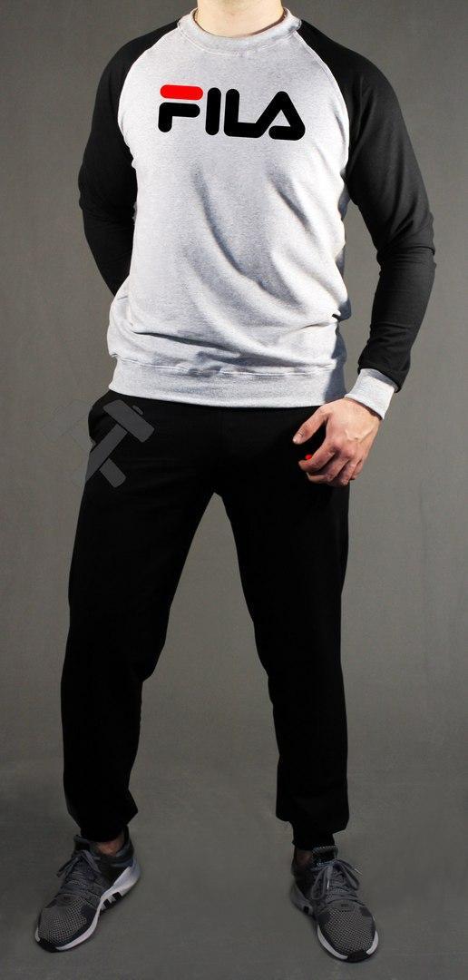 Спортивный костюм Фила мужской, брендовый костюм Fila трикотажный (на флисе и без) копия