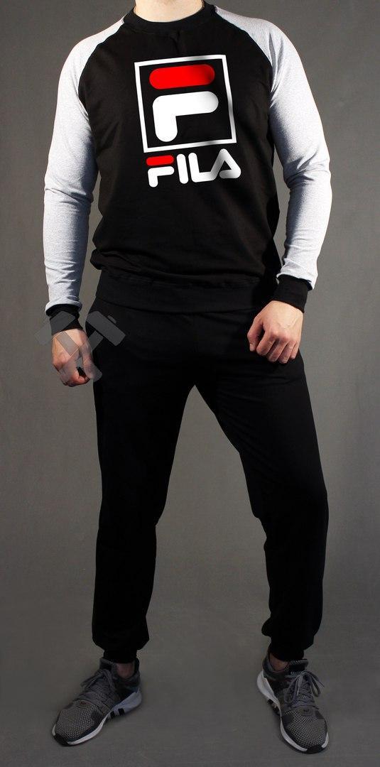 38e1a7e1a6fd Мужской спортивный костюм Fila серый с черным (люкс копия) -  Интернет-магазин спортивной