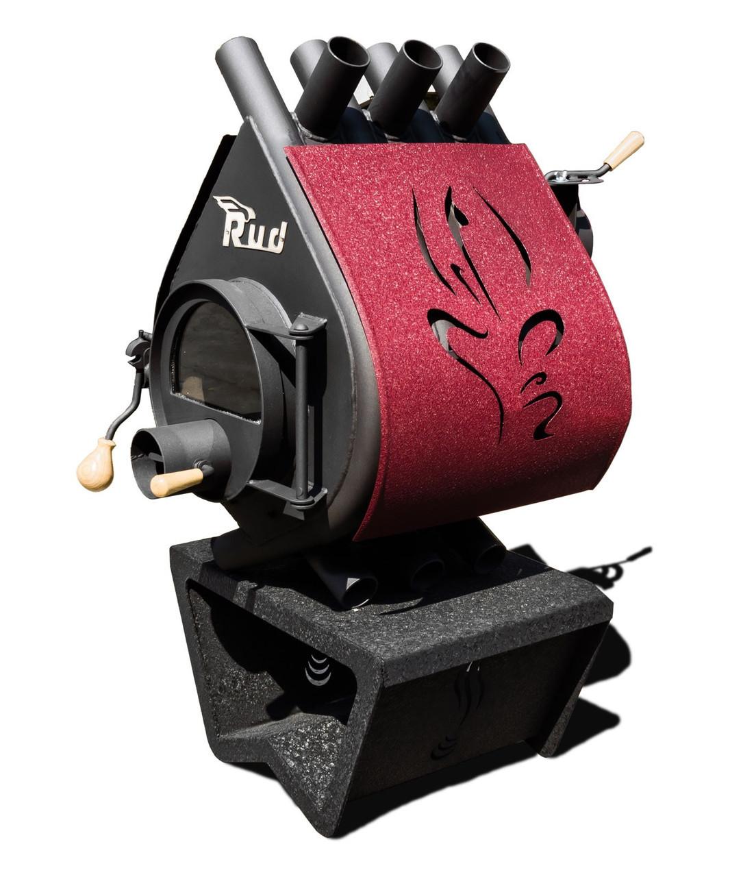 Отопительная конвекционная печь Rud Pyrotron Кантри 00 С обшивкой декоративной (бордовая)