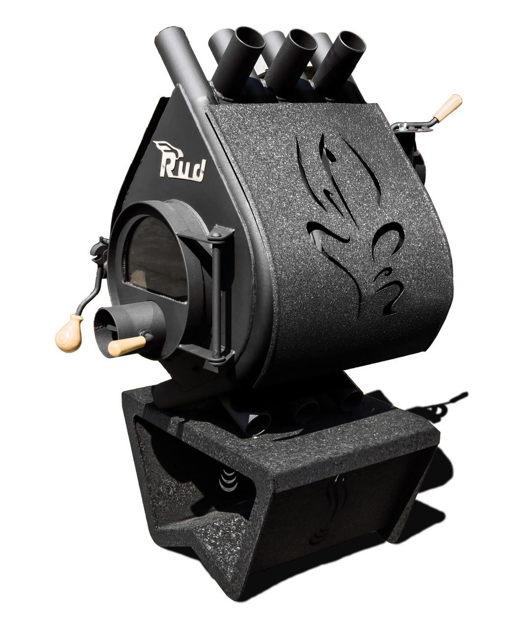 Отопительная конвекционная печь Rud Pyrotron Кантри 01 С обшивкой декоративной (бордовая)