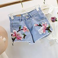 Джинсовые шорты с высокой талией и цветочной вышивкой голубые 48, фото 1