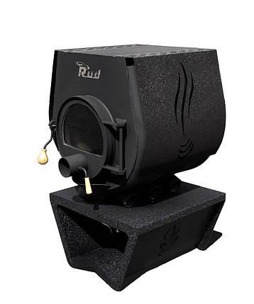 Отопительная конвекционная печь Rud Pyrotron Кантри 01 с варочной поверхностью Обшивка декоративная (бордовая), фото 2