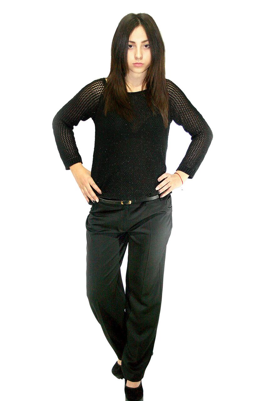 Классические женские брюки, черные, с поясом (батальная серия) / ЖБ-8 pants women's classic