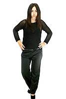 Классические женские брюки, черные, с пооясом, фото 1