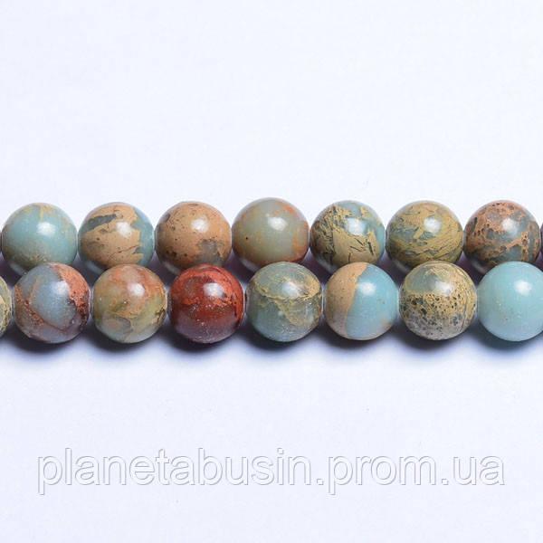 8 мм Натуральная Аква Яшма, CN263, Натуральный камень, Форма: Шар, Отверстие: 1мм, кол-во: 47-48 шт/нить