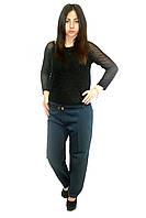 Классические женские брюки в больших размерах, темно-синие (+пояс), фото 1