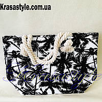 Летняя пляжная сумка с пальмами Черная
