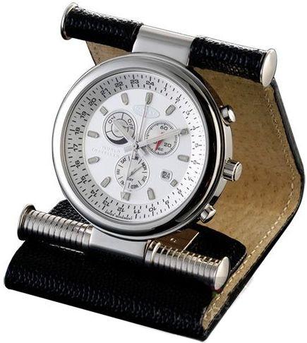 Стильные дорожные мужские часы кварцевые 63*54 мм. Dalvey World Traveller D00469  в коже, черный