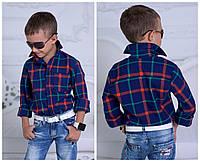 Рубашка на мальчика клетка турецкая рубашечная ткань Рост 116-122 122-128 128-134 134-140 140-146 146-152