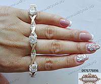 Браслет из серебра и золота с камнями 0006.06