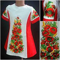 """Шикарное платье для девочки вышитое на габардине  """" украинские маки с колосками"""","""