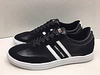 Мужские кроссовки Tommy Hilfiger черно-белые замша